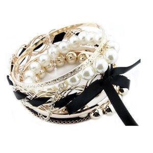 Multi-Layer Pearl and Ribbon Bracelet